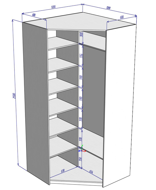чертежи угловых шкафов купе