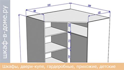Чертеж углового шкафа 1200х1200