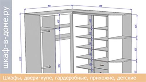 Чертеж углового шкафа 1800х1800