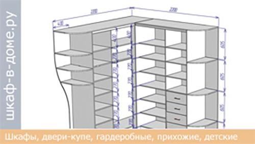 Чертеж углового шкафа 2200х2200