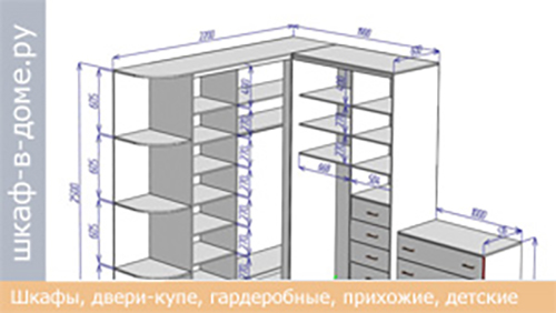 Чертеж углового шкафа с комодом
