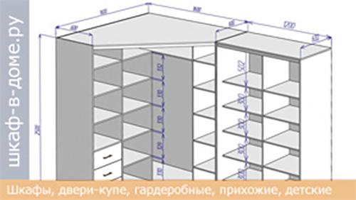 угловой книжный шкаф купе - чертеж