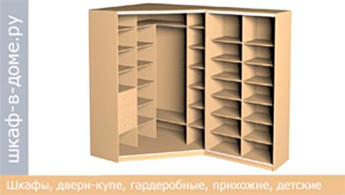угловой книжный шкаф купе - вид
